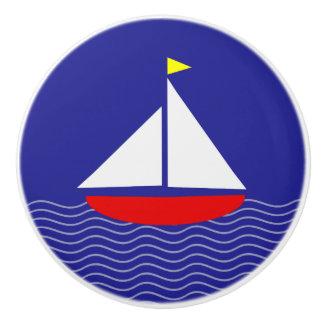 Blue Sailboat Ceramic Knob