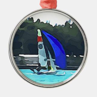 Blue Sailboat Metal Ornament