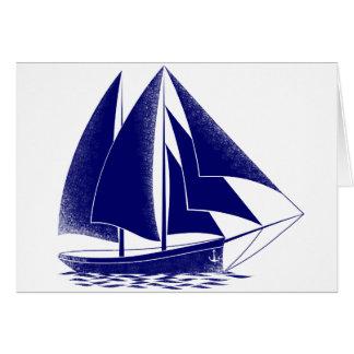 Blue sailboat nautical sea sailing card
