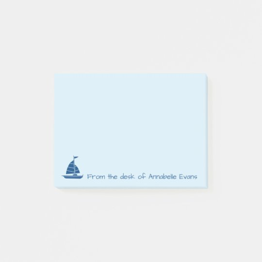Blue Sailboat Silhouette Post-it Notes