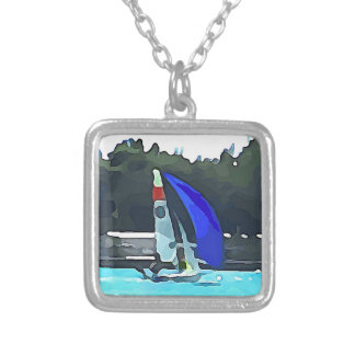 Blue Sailboat Silver Plated Necklace