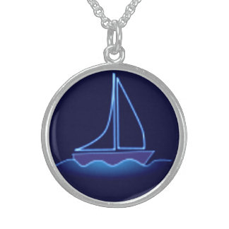 Blue Sailboat Sterling Silver Necklace