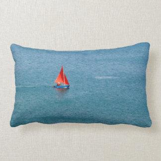 Blue Sailboat with Red Sail at Coverack Cornwall Lumbar Pillow