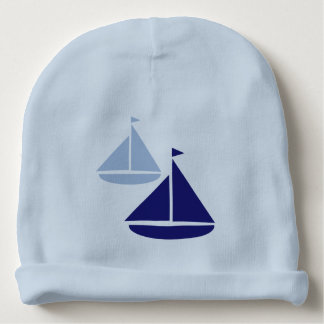 Blue Sailboats Baby Beanie