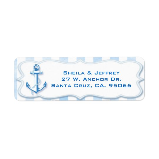 Blue Sailing Anchor Nautical Wedding Return Address Label