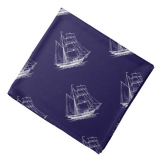 Blue sailing ship nautical boat Bandanna