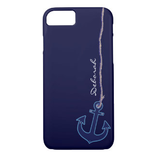 blue sailor anchor personalized Case-Mate iPhone case