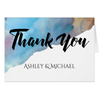 Blue & Sand Abstract Beach Watercolor Thank You Card