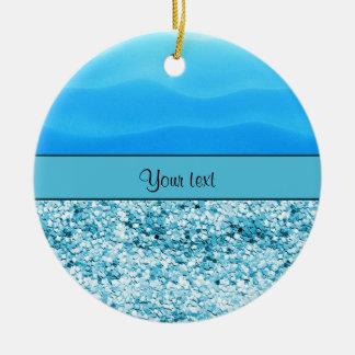 Blue Sands & Glitter Round Ceramic Ornament