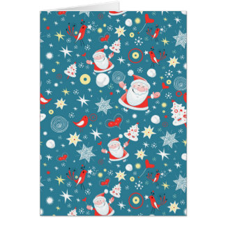 Blue Santa Christmas Card