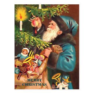 Blue Santa Vintage Blue Suit & Black Fur, Postcard
