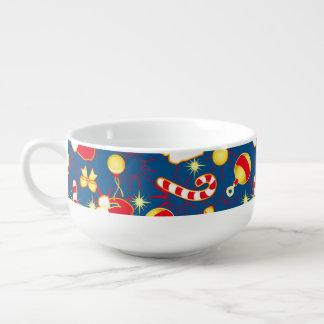 Blue - Santa's cap Soup Bowl With Handle