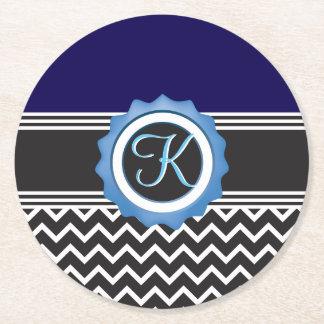 Blue Sapphire Black White Chevron Round Paper Coaster
