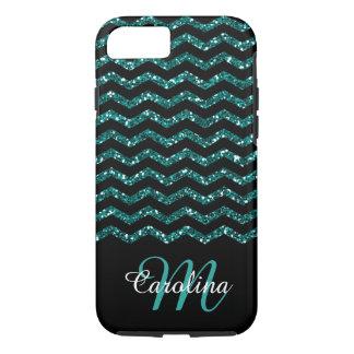 Blue  Sapphire Glitter Chevron ,  Name & Monogram iPhone 8/7 Case