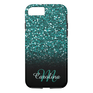 Blue Sapphire Glitter, Name and Monogram iPhone 7 Case