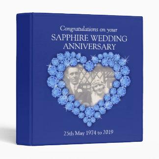 Blue sapphire wedding anniversary photo folder 3 ring binder