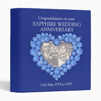 Blue sapphire wedding anniversary photo folder vinyl binder
