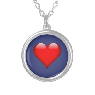 Blue Satin Look and Customize them yourself Round Pendant Necklace