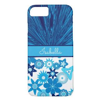 Blue Satin n Flowers Monogram iPhone 8/7 Case