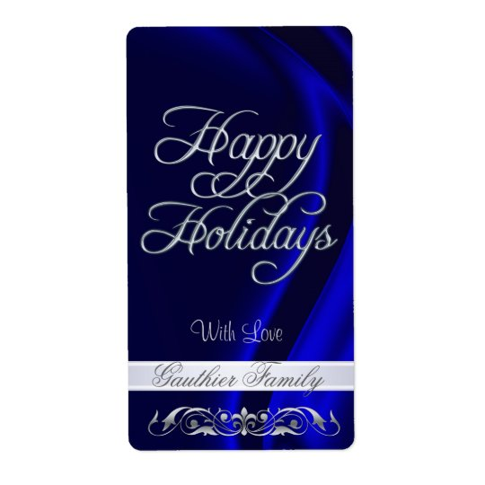 Blue Satin Silver Scroll Happy Holidays Wine Shipping Label