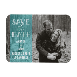 Blue Save The Date  Banner Overlay Photo Magnet