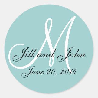 Blue Save the Date Monogram Wedding Label Round Sticker