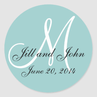 Blue Save the Date Monogram Wedding Label Stickers