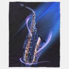 Blue Saxophone Large Fleece Blanket