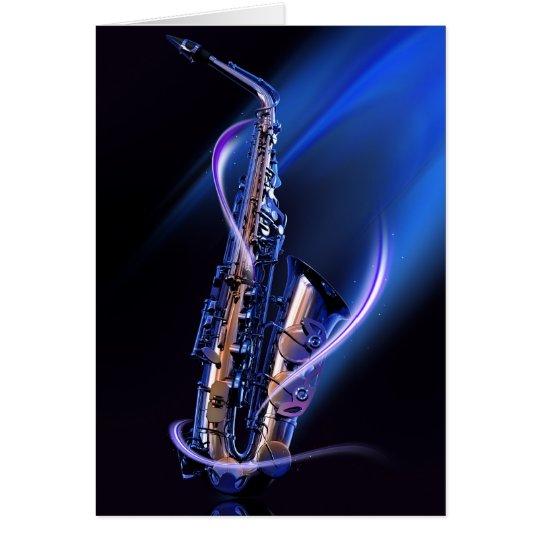 Blue Saxophone Note Card