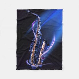 Blue Saxophone Small Fleece Blanket