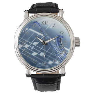 Blue Saxophone Watch
