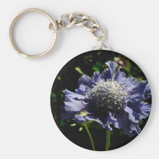 Blue Scabiosa flower Keychain
