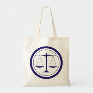 Blue Scales of Justice Silhouette Tote Bag