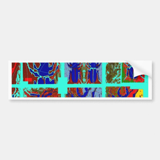 Blue Scarab Beetles Abstract Art by Sharles Bumper Stickers