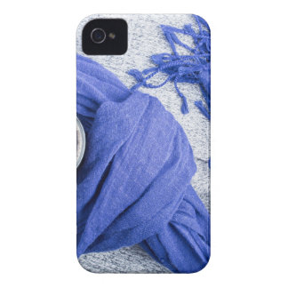 Blue scarf tied around the mug with hot coffee iPhone 4 Case-Mate case