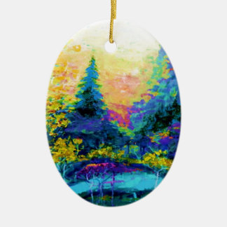 Blue Scenic Mountain Landscape Gifts Ceramic Oval Ornament