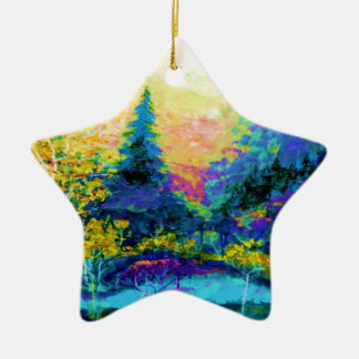 Blue Scenic Mountain Landscape Gifts Ceramic Star Ornament