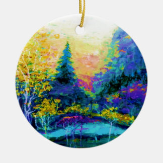 Blue Scenic Mountain Landscape Gifts Round Ceramic Ornament
