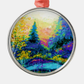 Blue Scenic Mountain Landscape Gifts Silver-Colored Round Ornament