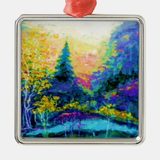 Blue Scenic Mountain Landscape Gifts Silver-Colored Square Ornament