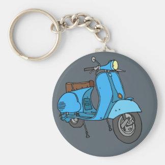 Blue scooter (Vespa) Basic Round Button Keychain