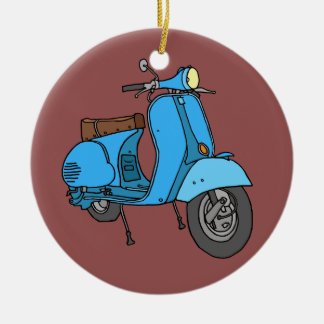 Blue scooter (Vespa) Ceramic Ornament