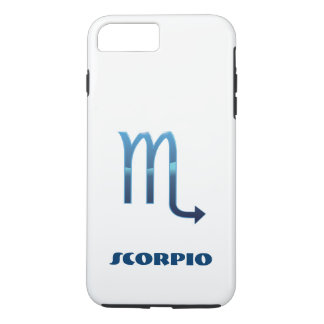 Blue Scorpio Zodiac Sig On White iPhone 8 Plus/7 Plus Case