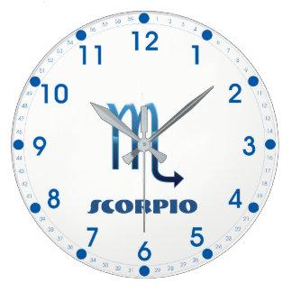 Blue Scorpio Zodiac Sig On White Large Clock