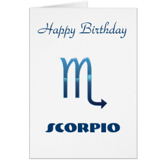 Blue Scorpio Zodiac Sign Birthday Card