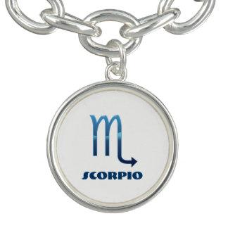 Blue Scorpio Zodiac Signs On White Charm Bracelet