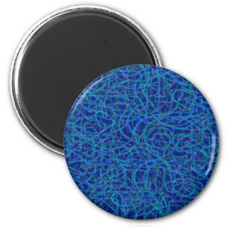 Blue scribbled lines pattern 2 inch round magnet
