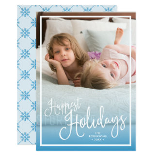 Blue Script Happiest Holidays Holiday Photo Card