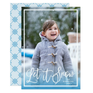 Blue Script Let it Snow Holiday Photo Card