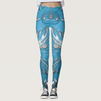 Blue scroll design pants Woman's leggings